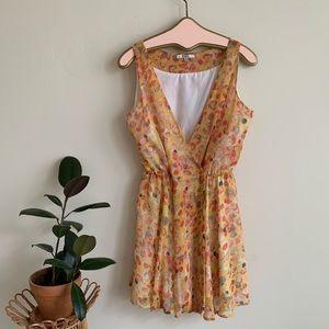 BB Dakota Yellow Watercolor Polkdot Print Dress